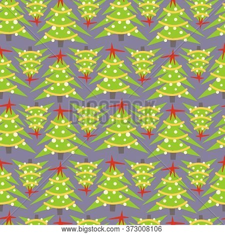 Christmas Tree Flat Hand Drawn Seamless Pattern. Ideal For Wallpaper, Textile, Backdrop, Wrapping Pa