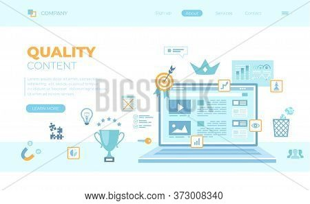 Quality Content, Content Management, Optimization, Filtration, Rating. Web Page On The Laptop Screen