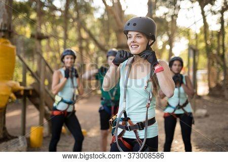 Happy of trainee wearing protective helmet