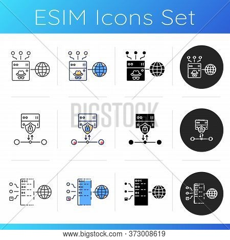 Cybersecurity Icons Set. Ssl Encryption Protocol, Anonymous And Transparent Proxy Servers. Linear, B