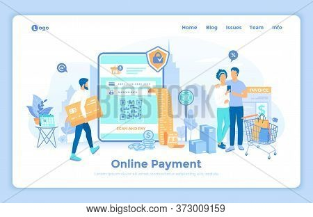 Online Payment. Money Transfer, Online Banking, Mobile Wallet, Pay History, Mobile App. Man Pays Via