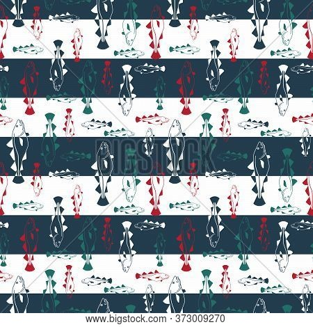 Cod Fish Scatter Pattern In Navy Blue Stripes. Vector Seamless Pattern Design For Textile, Fashion,