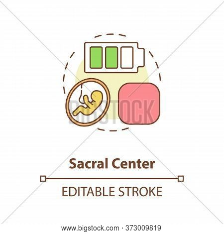Sacral Center Concept Icon. Life Force. Sexuality Level. Chakra In Body System. Human Design Idea Th