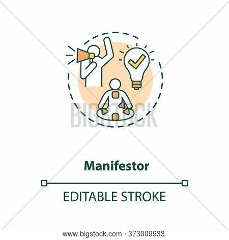 Manifestor Concept Icon. Rally To Action. Astrological Body Graph With Energy Centers. Human Design