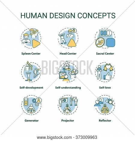 Human Design Concept Icons Set. Improve Self Understanding. Accept Oneself. Chakra Type. Individuali