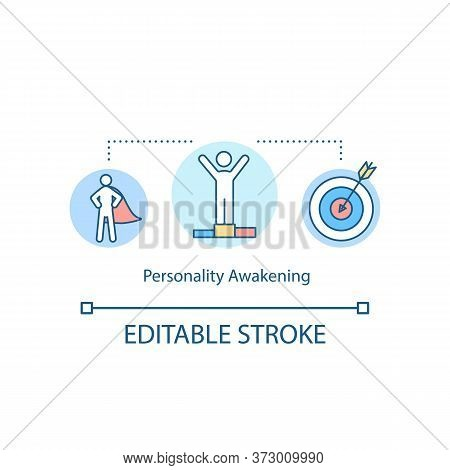 Personality Awakening Concept Icon. Personal Achievement. Psychological State. Individual Goal. Self