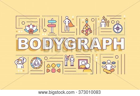 Bodygraph Word Concepts Banner. Human Design System. Spiritual Knowledge Of Inner World. Infographic