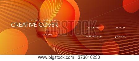 Vector Fluid Flow. Yellow Gradient Landing Page. 3d Abstract Lines. Digital Banner. Orange Fluid Flo