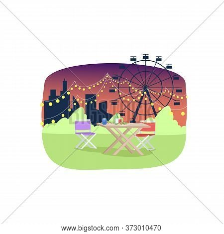 Street Cafe Semi Flat Vector Illustration. Empty Tables With Food And Drinks 2d Cartoon Landscape Fo