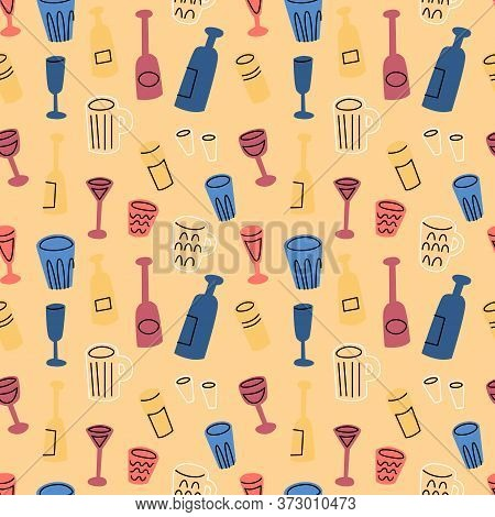 Cup Bottle Glass Wine Beer Alcohol Shot Flat Hand Drawn Seamless Pattern. Ideal For Background, Wall