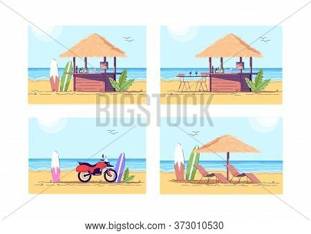 Relaxation On Beach Semi Flat Vector Illustration Set. Cocktail Bar To Drink Refreshment. Motorcycle