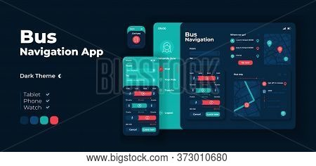 City Bus Navigation App Screen Vector Adaptive Design Template. Public Transportation Service Applic