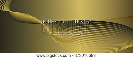Abstract Vector Curve. Yellow Dynamic Landing Page. 3d Flow Line. Minimal Brochure. Golden Abstract