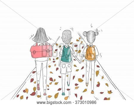 Illustration Of A Group Of Student Returning To School  In September