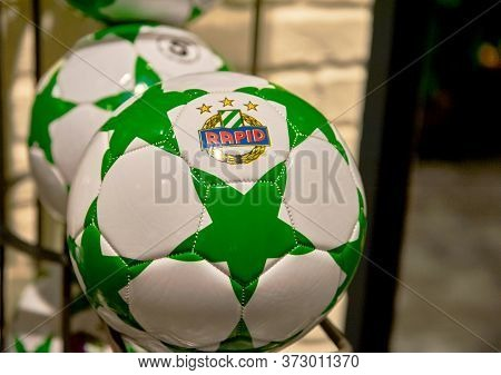 Vienna, Austria - September 2018: Balls On Sale In The Fan Shop At Fc Rapid Arena