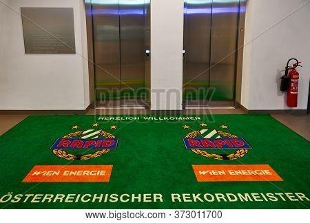 Vienna, Austria - September 2018: Elevators At Fc Rapid Arena