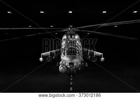 Mil Mi-35p, Mi-24p Variant 2019 - Phoenix, Modern Attack Helicopter In The Dark, Lit By Spotlights.