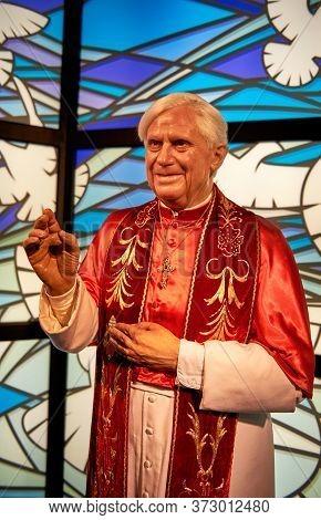Vienna, Austria - September 2018: Papa Benedict Xvi  Wax Figure In Madame Tussauds Museum