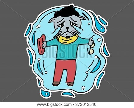 Sad Cat Hipster Is Crying And Lying In A Puddle Of Tears. Flat Style Cartoon Sticker For T-shirt, Sw