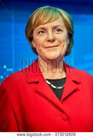 Vienna, Austria - September 2018: Angela Merkel Wax Figure In Madame Tussauds Museum