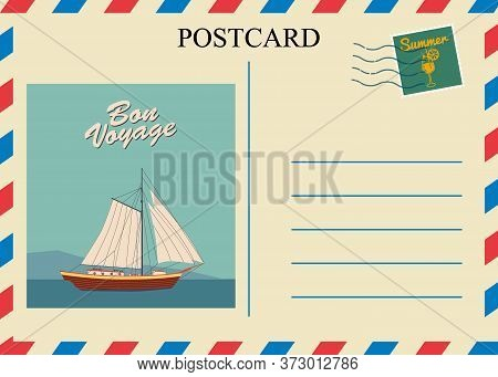 Postacrd Summer Vintage Sailboat Ocean. Vacation Travel Design Card With Postage Stamp. Vector Illus