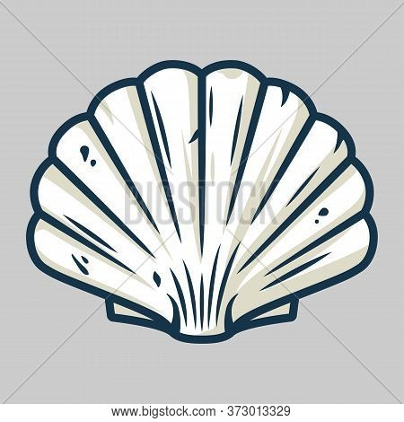 Graphic Emblem Of Scallop Sea Shell, Clam, Conch