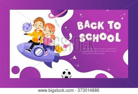 Concept Of Back To School. Kids Ready To Study In New Academic Year. Happy Classmates Boy And Girl F