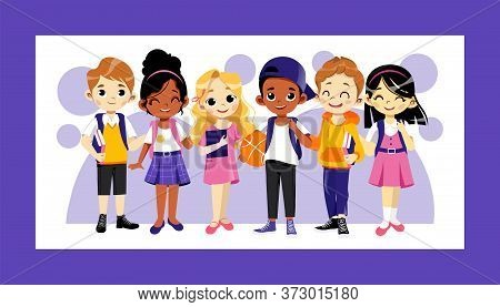 Concept Of Back To School. Multi Ethnic Teens Set. Kids Ready To Study In New Academic Year. Happy C
