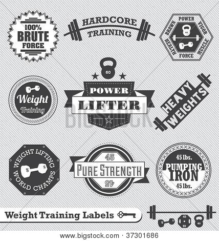 Vector Set: Vintage Weight Lifting Labels