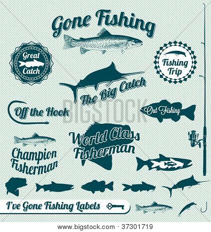 Vector Set: Vintage Gone Fishing Labels