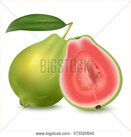 Fresh Whole And Half Guava  With Leaves Or Psidium Guajava, Isolated On White Background. Can Lower