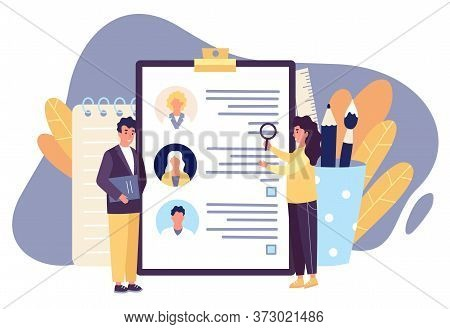 Hr Workers Looking For The Best Candidate Among Job Applicants Who Suits Company Best. Man And Woman