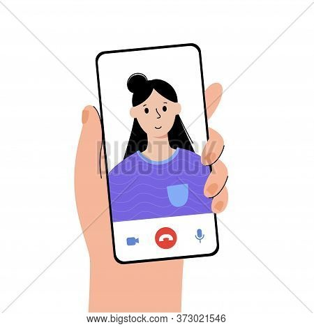 Male Or Female White Hand With Smartphone. Happy Girl On Main Screen. Videocall Or Meeting Concept.