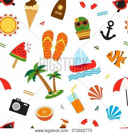 Summer Seamless Pattern, Different Seasons Objects Isolated On White Background. Vector Illustration