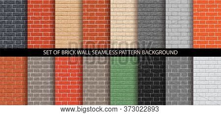 Brick Wall Seamless Pattern Set. Different Brick Background Textures - Red, Orange, Gray, Black, Bro