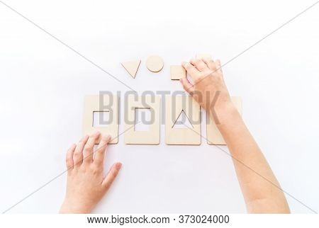 Montessori Material Math Form Flat Lay.