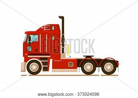 Pull Tractor Car. Special Road Truck Transport Isolated On White Background. Long-haul Trucker Trans