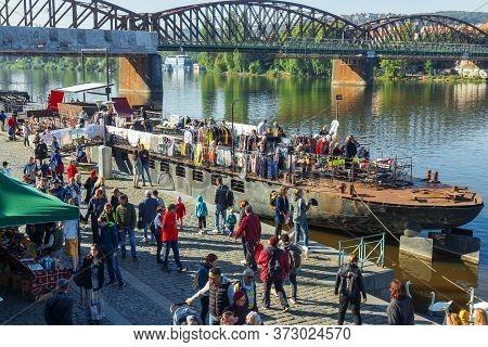 Prague - September 21: Flea Market On The Deck Of A Boat At Naplavka Farmers Street Food Market On S