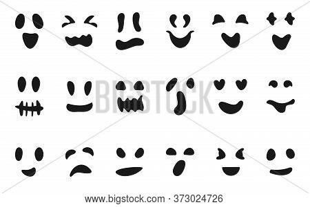 Set Of Carved Silhouettes Faces Pumpkins Or Ghost. Black Icons Different Shapes Eyes Mouths. Templat