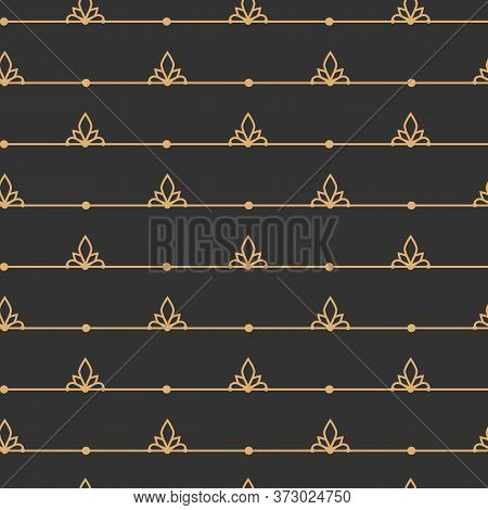 Gold On Black Line Seamless Pattern. Limitless Background, Boundless Abstract Decor. Stylish Golden