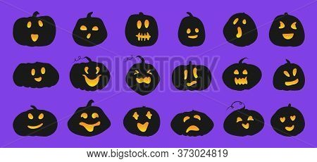 Set Of Pumpkin Silhouette With Luminous Orange Face. Black Icons Squash Different Shapes And Emotion