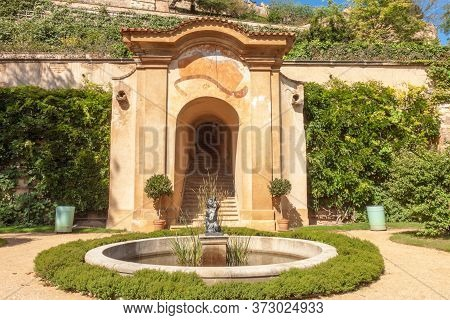 Small Palffy Garden, Prague - July 11: The Second Terrace With Round Fountain, Iron Statuette Of Tri