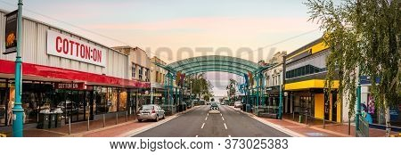 Burnie, Tasmania, Australia - March 1, 2020: Panoramic View Of The Cattley St At The Commercial Cent