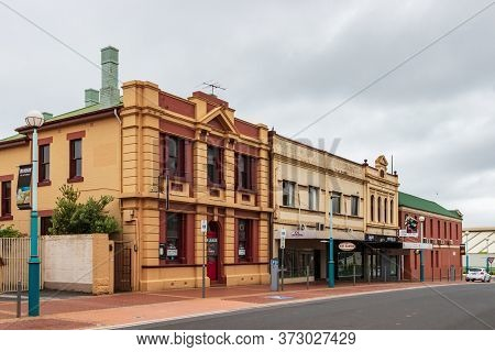 Burnie, Tasmania, Australia - March 1, 2020: Traditional Buildings At Cattley St At The City Centre