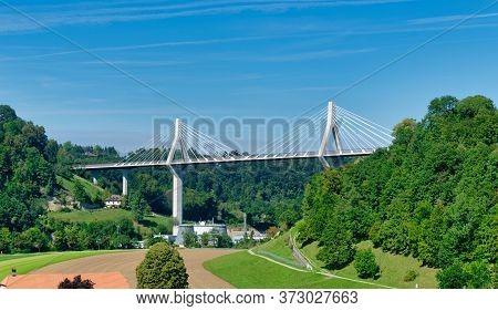 Cable-stayed Poya Bridge In Fribourg (freiburg), Switzerland