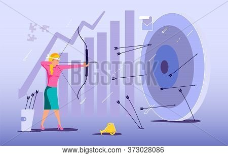 Blindfold Businesswoman Aiming From A Bow. Wrong Business Goal Solution, Miss Target, Hit Off The Ma