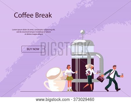 Landing Webpage Template For Coffee Shop With Tiny People And Large Cup Of Coffee. Concept Of Coffee