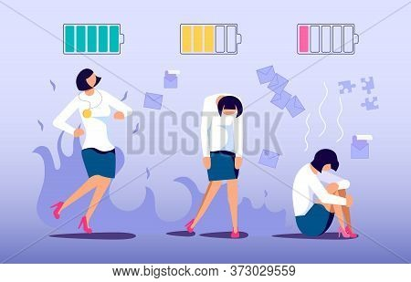 Concept Of Enthusiastic Manager On The Start Of Project And Exhausted On The Finish. Professional Bu
