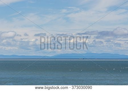 Beautiful View Of Canadian Seascape At The Pacific Ocean Coast In Howe Sound.
