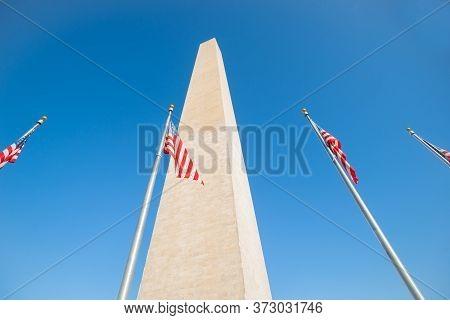 Washington Monument Tall Obelisk In National Mall Washington Dc Commemorating George Washington With